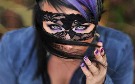 девушка, маске, маска, свет, красивая, взгляд, черной, devushki, фоны, красивые, рука,