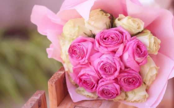 цветочки, cvety, white, розы, букет, розовые,