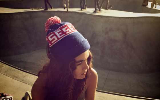 девушка, шапка, parra, cuva, brunette, desktop, волосы, swept,