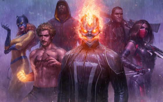 marvel, будущее, бой, cg artwork, искусство, скриншот, marvel: future fight, черная пантера, the defenders, железный кулак, железный кулак, marvel cinematic universe, marvel studios, marvel comics, marvel television