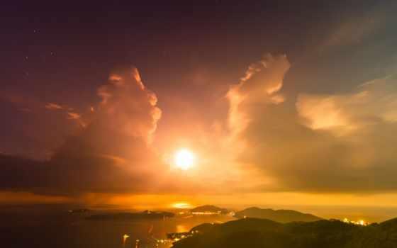 sun, облака, горы