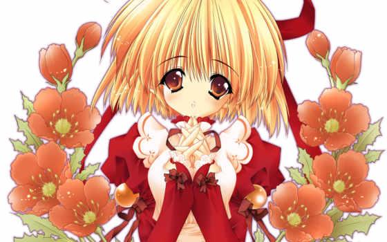 anime, flores, chicas