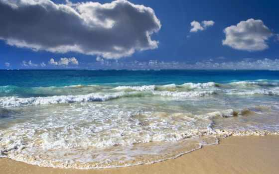 ocean, oblaka, waves, горизонт, serene, небо, water, острова,