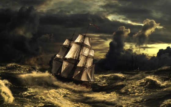 буря, море, waves, sailboat, корабль, акула, бущующее, art, ipad, небо,