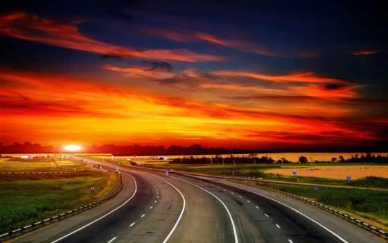 закат, небо, oblaka, дорога, природа, landscape, трава, вечер, со,