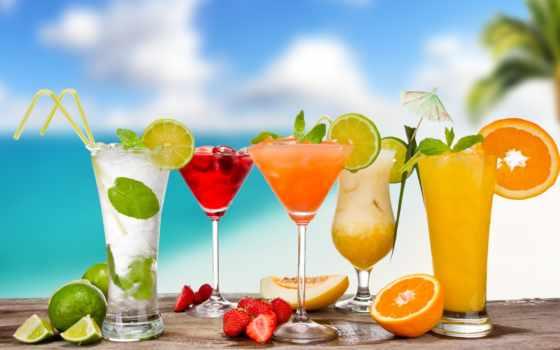 бокалы, коктейли, cocktails, мохито, зонтики, фрукты, лед, ягоды,