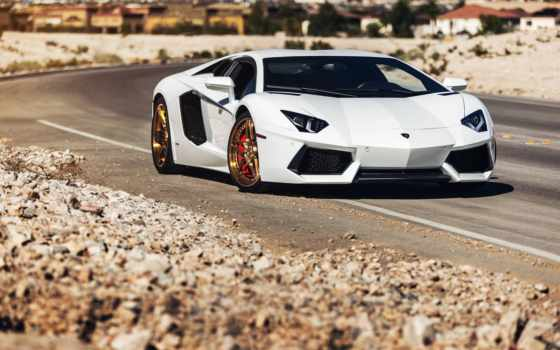 lamborghini, aventador, дорога, lp700-4,, суперкар, white, wheels, forged,