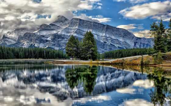 rundle, jack, два, горы, озеро, mount, природа, канадский, banff, канада, красивая,