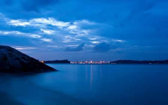 море, небо, огни, природа, ocean, мост, mountains,