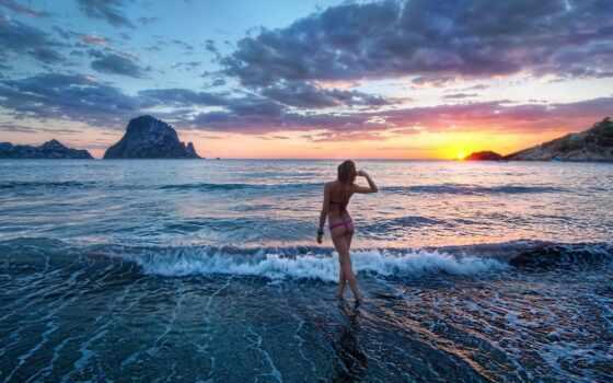 девушка, море, красивый, закат, картинка