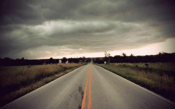 дорога, город, облока, тучи, поле, дрога, уходит, под, смотрите, вдаль, небом, серым,