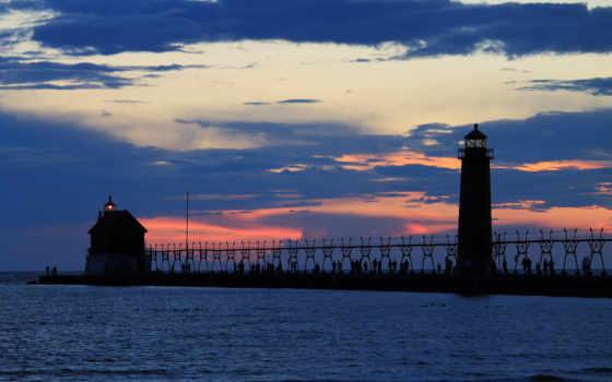 закат, маяк
