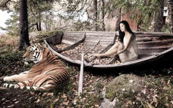 тигр, девушка, листья
