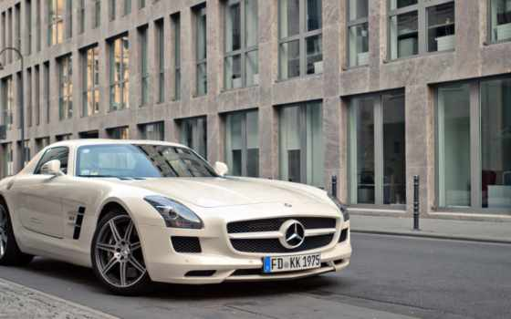 mercedes, benz, sls, мерседес, amg, white, бенц, daily, заставки,
