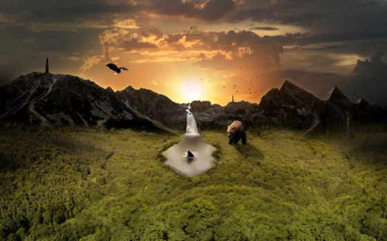 słońca, fantasy, zachód, góry, niedźwiedź, ptak,
