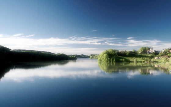 река, небо, затока
