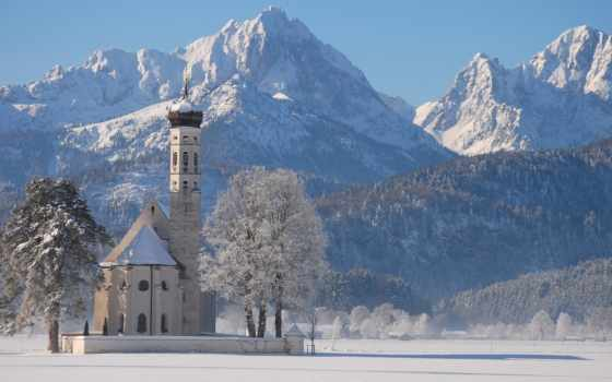 храм, winter, снег, горы,