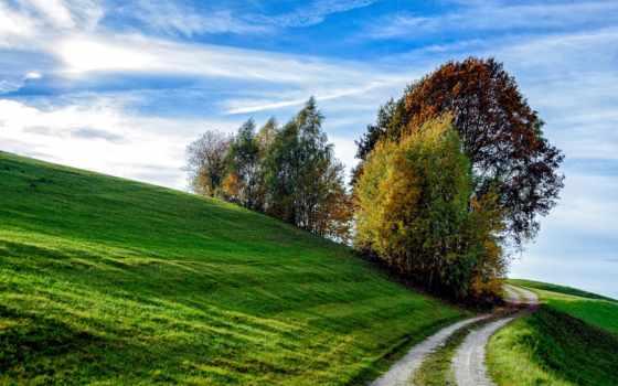 hill, фото, рамочка, зелёный, склон, осень, дорога, трава, разное, небо,
