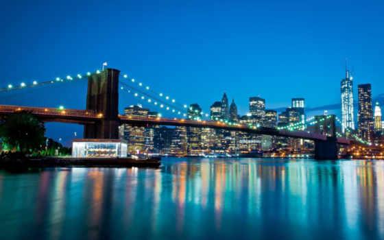 manhattan, world, город, река, восток, мост, new, york,