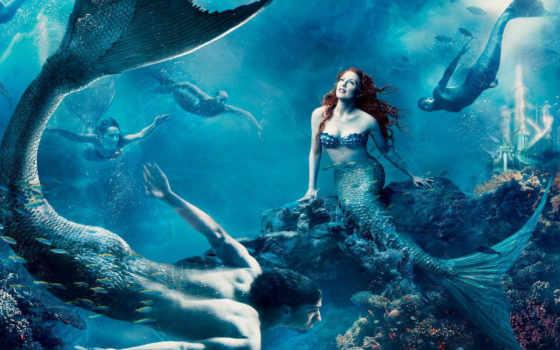 русалки, воде, русалка, водой, tail,