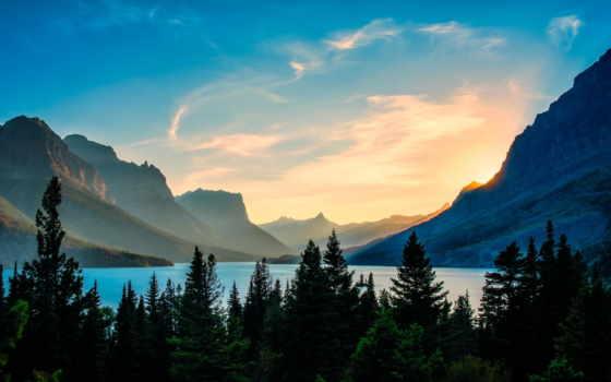 картинка, лес, trees, природа, горы, осень, дорога,