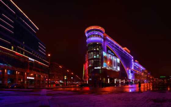москва, россия, город, небоскрёба, plane, ночь, point, vision, мегаполис