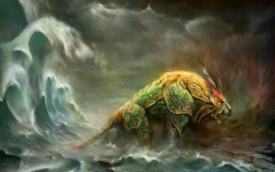 море, лев, монстр, фэнтези, смотрите, skin, широкоформатные, google, beast, cette, накупался, fois, est,