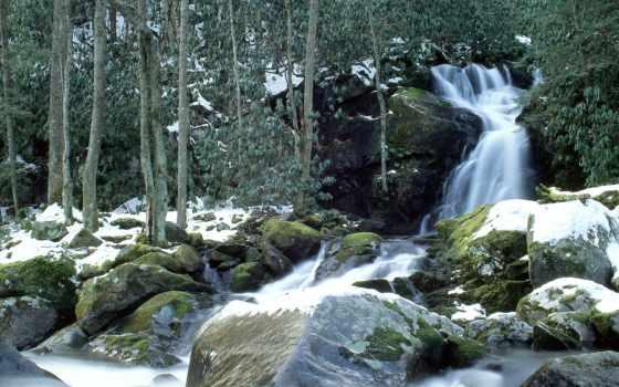 природа, air, водопады, yang, водопад, лес, заставки, pemandangan, winter, июл,