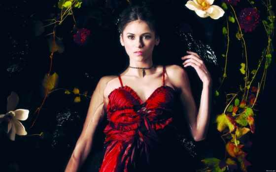 платье, красном, женщина