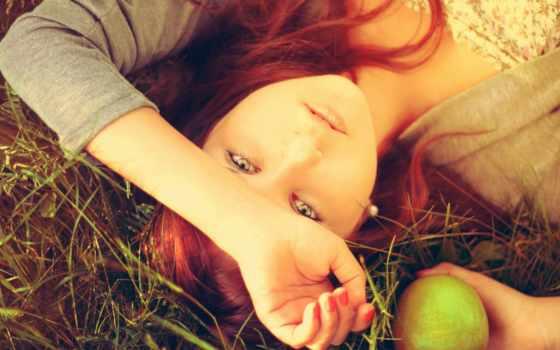 девушка, волосы, настроения, красные, apple, высоком, качестве, базе, февр, руку,