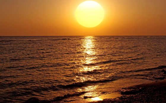słońca, zachód, pulpit, horyzont, morze, tapety, online,