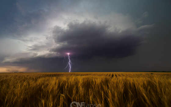 буря, usa, поле, lightning, kansas, leoti, clouds, rotating,