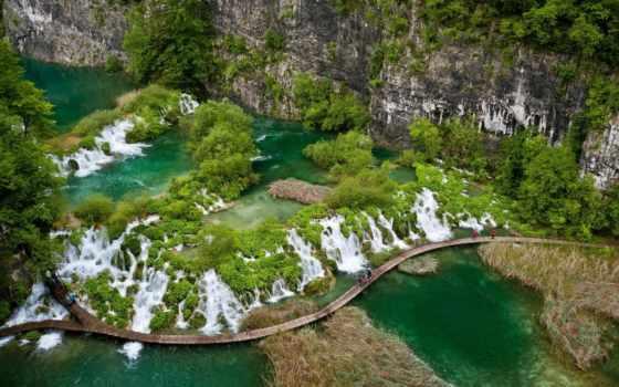 park, взгляд, горы, зелёный, сверху, мост, водопады, national, summer, хорватия,