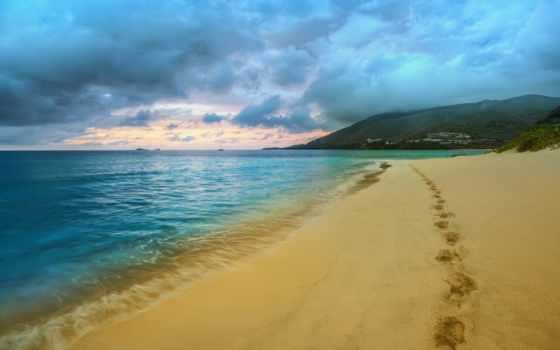 пляж, следы, море