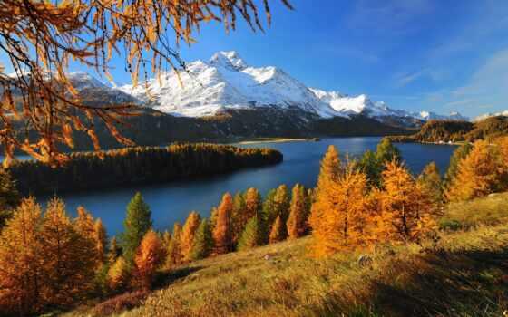 гора, осень, природа, река, swiss, золотистый, озеро, дерево, альпы