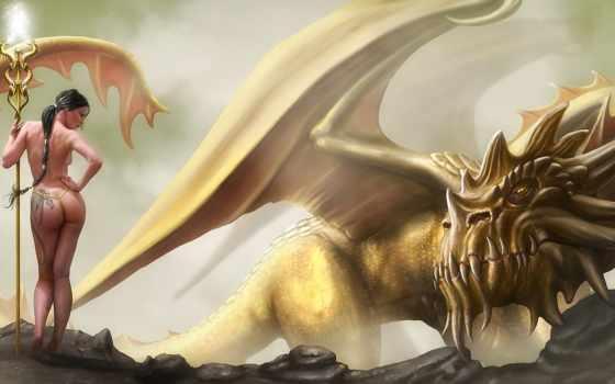 девушка, дракон Фон № 7779 разрешение 1680x1050