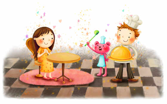 нарисованные, дети, девочка, мальчик, медвежонок, стол, стул, поднос, волшебство, звездочки, черпак
