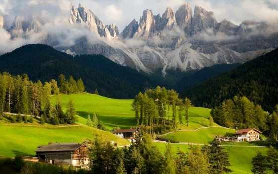 доломитовые, альпы, массив, гора, альпах, италии, восточных,