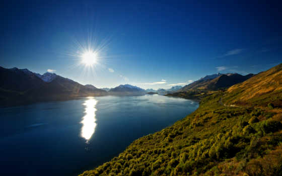 горы, озеро, новая