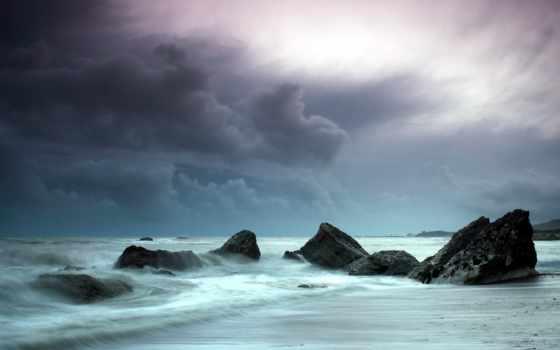 пляж, ocean, stormy