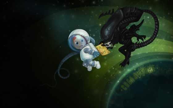 юмор, чужой, космонавт