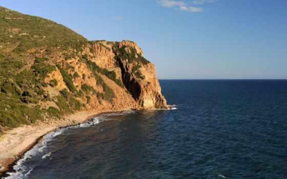 break, море, water, небо, скалы, берег, природа, ocean, oblaka, landscape, панорама,