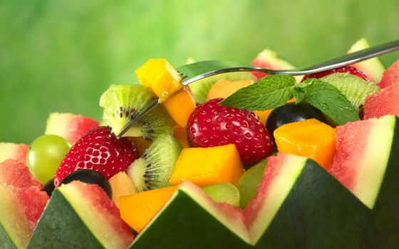 арбуз, фрукты, ягоды, клубника, киви, салат, плод,