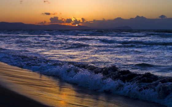 море, waves, берег, закат, вечер, пейзажи -, песок, морские, пляж, побережье,