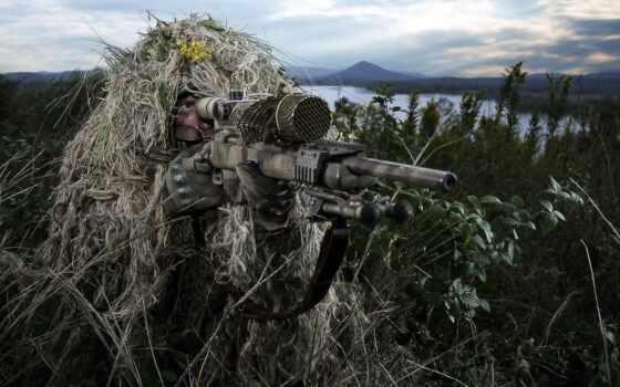 снайпер, винтовка, армия, камуфляж, оружие, shirokoformatnyi, девушка