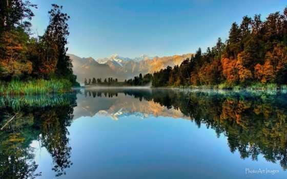 новая, zealand, озеро