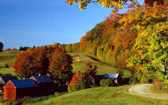 park, осень, деревня, фотографий, state, луга, дома, trees,