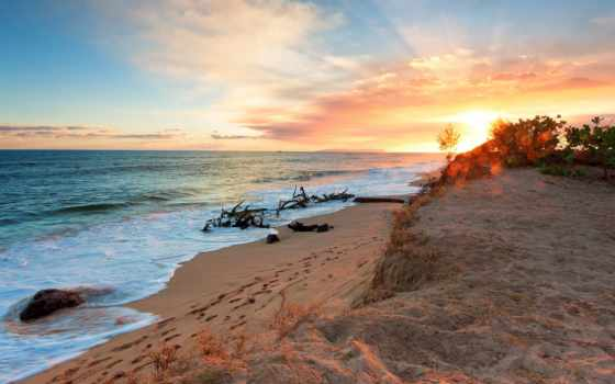 закат, море, песок, natur, sommer, пляж, берег, wellen, wolken, strände,