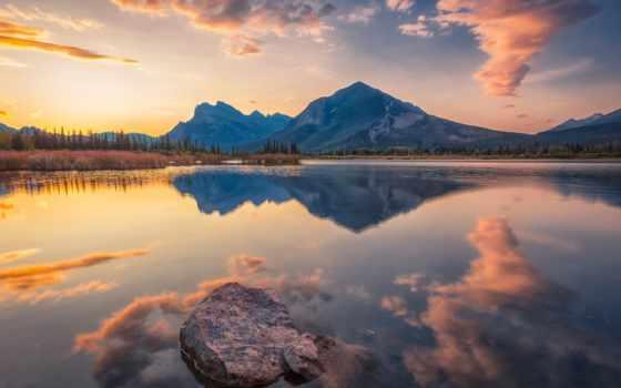 banff, альберта, озеро, гора, отражение, vermilion, desktop, канада, закат, lakes,