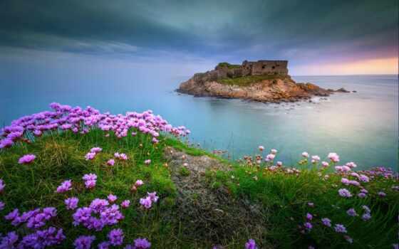 море, небо, summer, landscape, англия, rock, гора, закат, ocean, берег, фронтовой